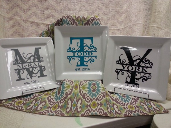 Monogramed platters by Southern Style- Living With Color Designs
