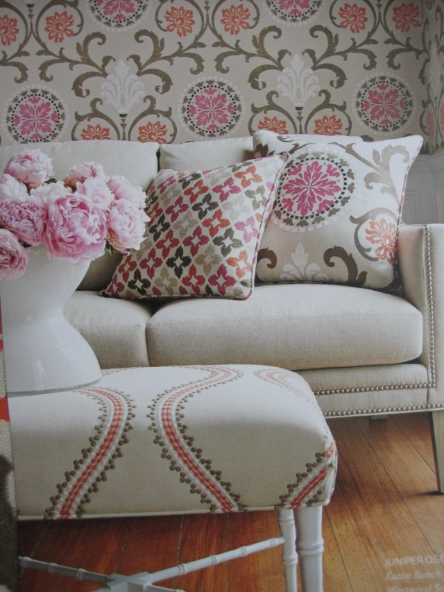 Shade of taupe, fuchsia and coral by Thibaut - Living With Color Designs