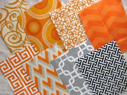 Southern Style Fabric options orange gray and black- Living With Color Designs