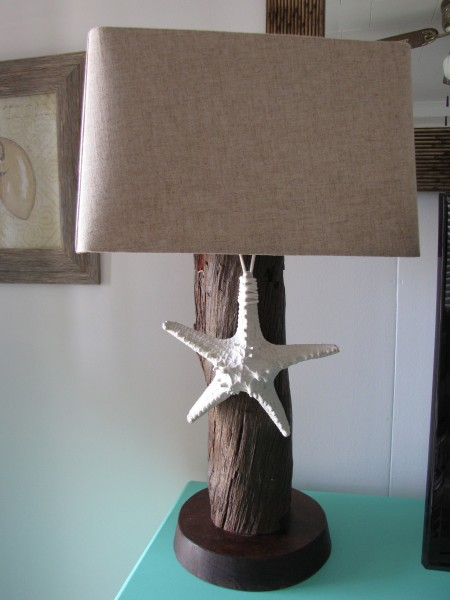 DIY accents, add a starfish to a wooden lamp for beach appeal - Living With Color Designs