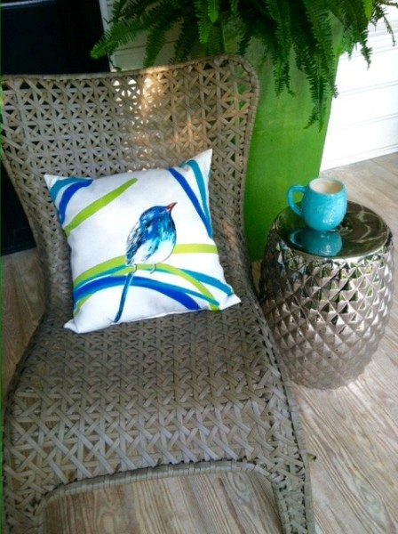 Outdoor Pillow With Bird- Living with Color Designs: Summertime And The Livin' Is Easy