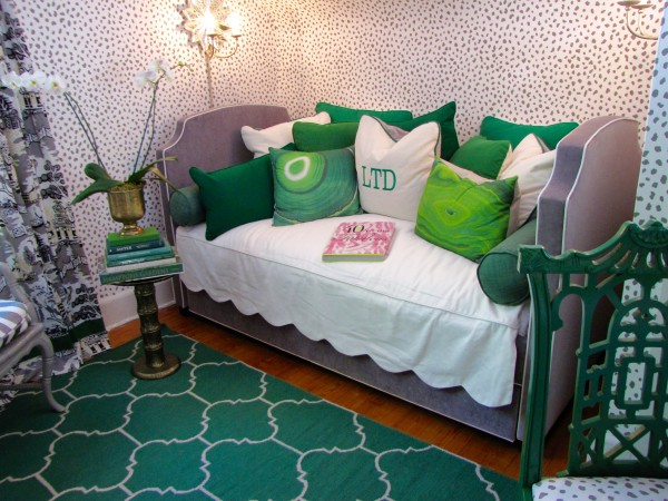 Grey Daybed scattered with emerald green pillows-Emerald green and grey color palette from Parker Kennedy Living- Living With Color Designs