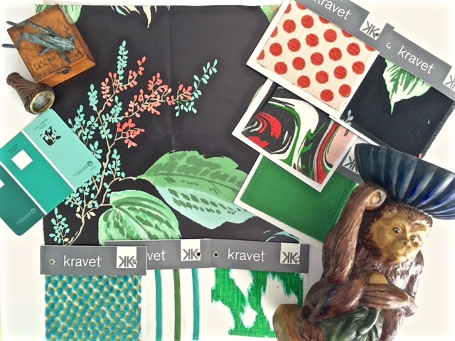 Picnic Green, Turquoise, Black, & Hot Coral color palette- Kate Spade New York- Living With Color Designs: inspiration board