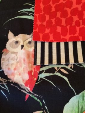 Black fabric with owl and foliage, Blackened white stripe, hot coral ocelot fabric: Living With Color Designs Blog