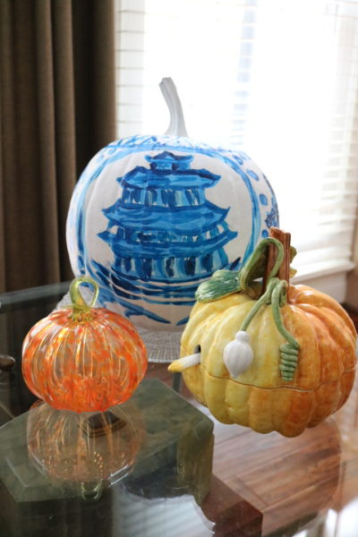 Chinoiserie Pumpkin: Living With Color Designs Blog- Finished pumpkin