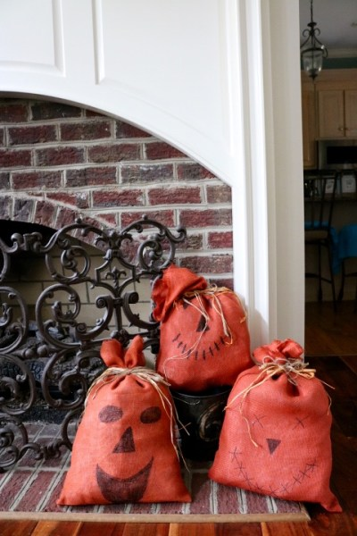Chinoiserie Pumpkin: Living With Color Designs Blog-burlap sack pumpkins