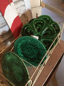 Chartreuse Barn Sale- Green oyster dishes