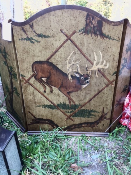 Chartreuse Barn- Firescreen with hand painted deer