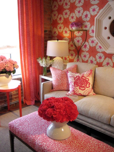Coral fabrics and wallpaper: Palm Beach Style