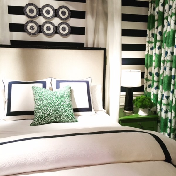 Preppy style Bedroom with bold stripe and emerald green and navy color scheme