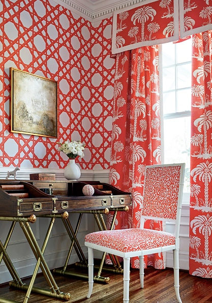 Cain patterned wallpaper and palm tree design curtains in coral: Palm Beach Style