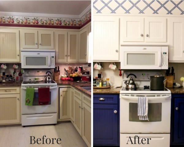 Before and after range area - Blue And White Kitchen: Living With Color Designs