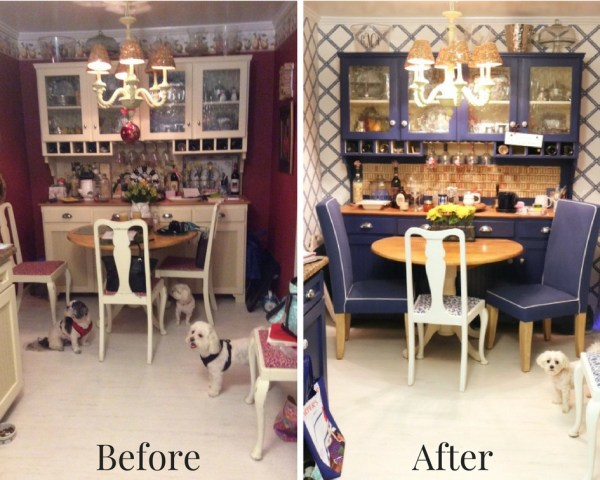 Before and After Breakfast Nook - Blue And White Kitchen: Living With Color Designs