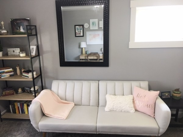 Before and After Home Office with soft grey futon and modern furniture -Blush, Black and Soft Grey Color Palette