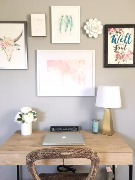 Gallery Wall with blush pink -Blush, Black and Soft Grey Color Palette