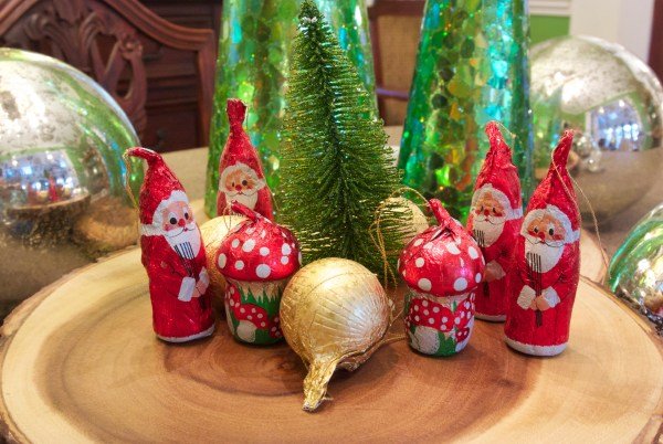 Christmas Decorating Is Easy With Cone Shaped Trees- decorating with foil wrapped chocolates from switzerland