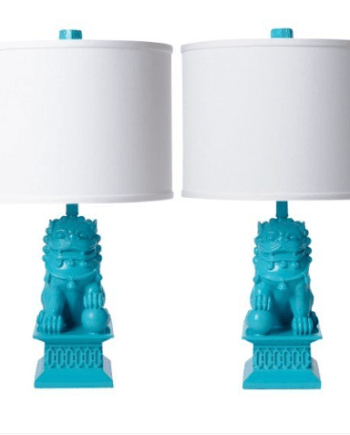 Mini Foo Dog Table Lamp Set, Turquoise Blue - Ah Home