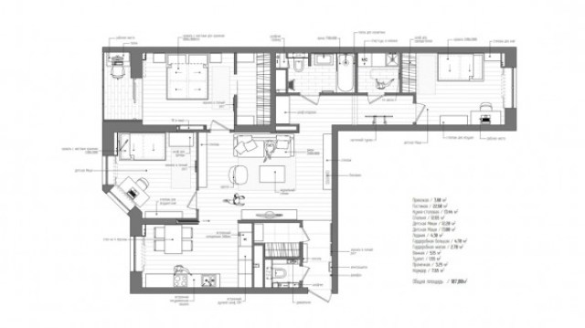 The overall floor plan of the apartment showcases how cleverly the space is used, with ever square centimeter having a distinct purpose, giving the apartment its spacious feel.