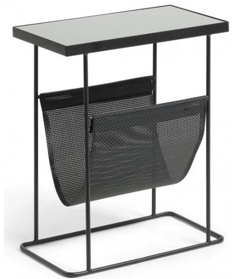 nisio small table with metal magazine rack and black glass top
