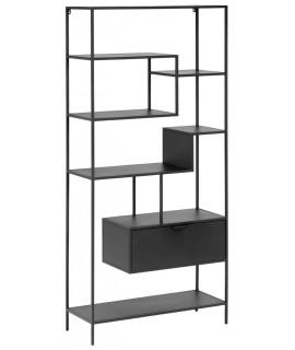 lama bibliotheque avec etageres et tiroir design industriel en metal noir