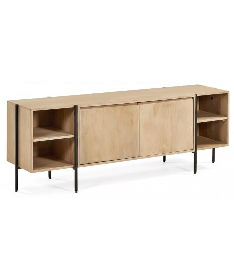 morgan meuble tv 160 cm meuble en bois massif et metal noir design moderne
