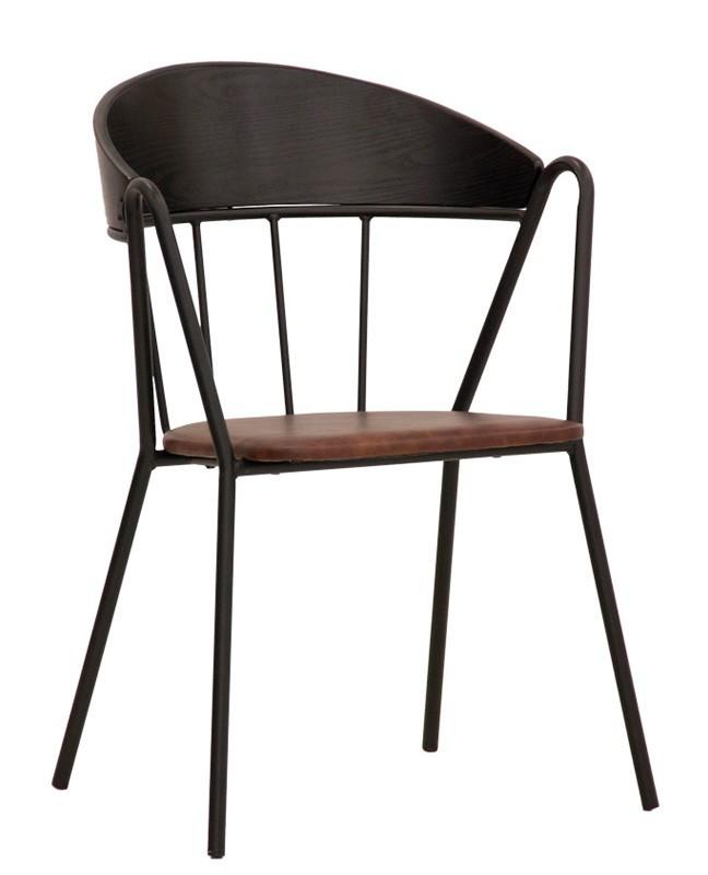 cora structure en metal avec dossier en bois et coussin en chaise en eco cuir avec accoudoirs design des annees 30