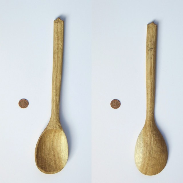 Big oak spoon. This one is entirely knife finished (no sanding, scraping or burnishing). All spoons in this post were finished with my new food safe wood wax, by the way.