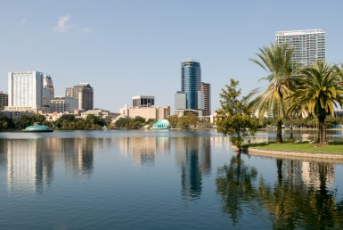 orlando florida lake and cityscape