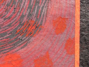 Close up of collage, linocut print and mixed media on acid free 600gsm cardboard. April 2015