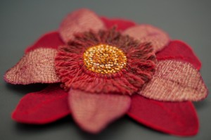 Red and recycled flower (side view)