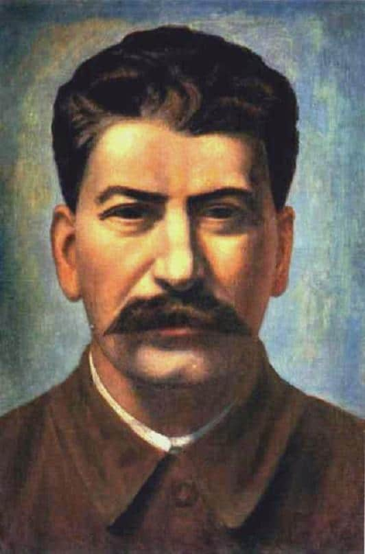 A strong portrait of Stalin looking thoughtful and benign