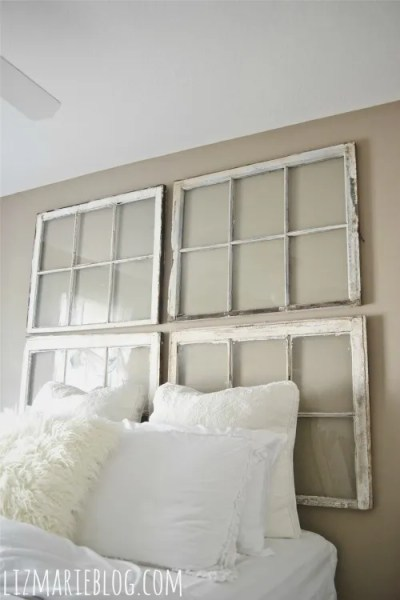 Headboard using Old Windows #bedroom #oldwindows #vintagewindows #decorating #windows #decor