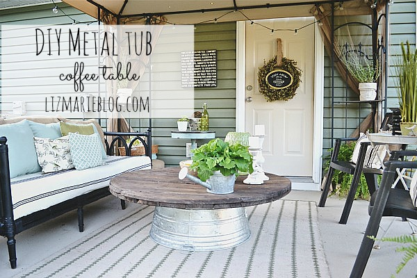 Diy Wire Spool And Metal Tub Coffee Table