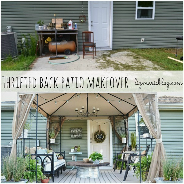 Back patio makeover full reveal source list for Cheap patio makeover ideas