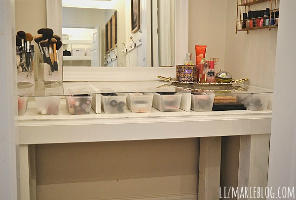 DIY Glass Top Vanity Desk   Directions On How To Make Your Own At  Lizmarieblog.
