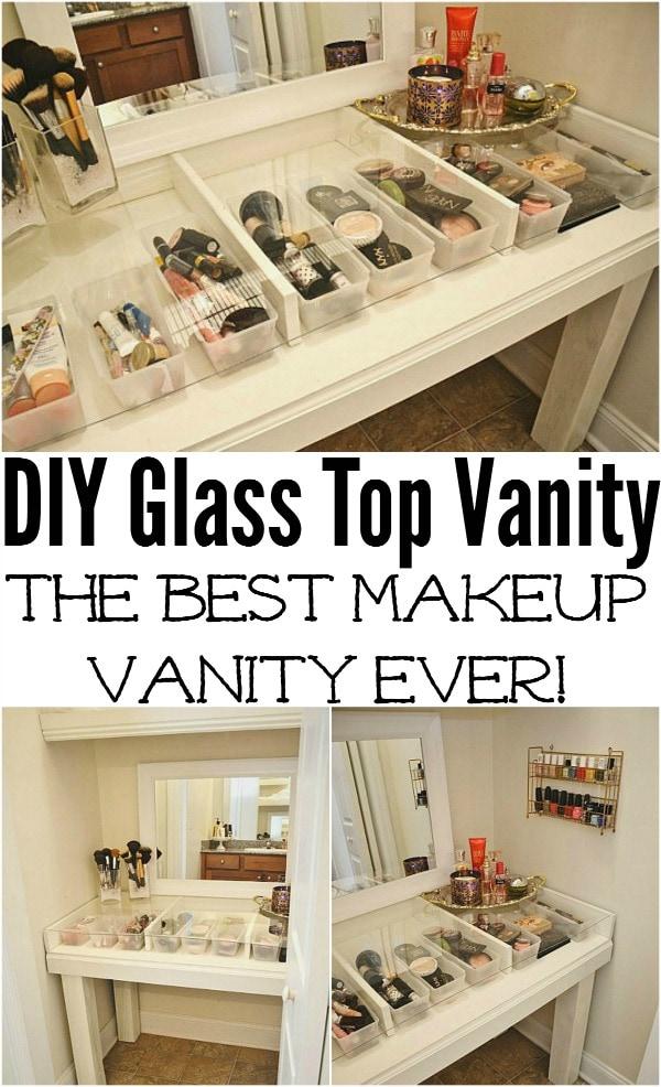 Diy Glass Top Makeup Vanity Liz Marie Blog