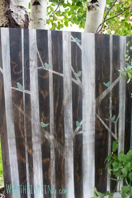 tree painting on plywood
