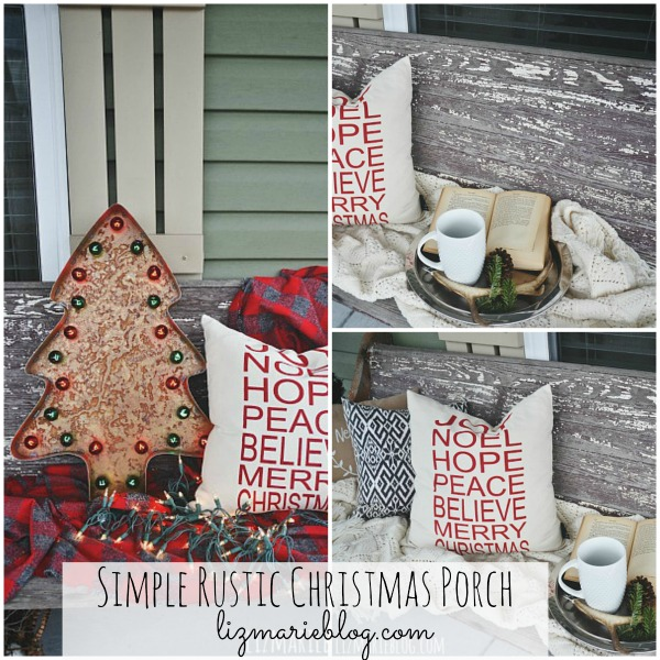 Simple Rustic Christmas Porch - lizmarieblog.com