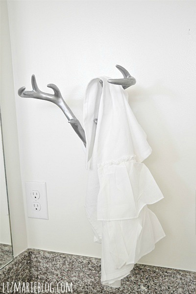 Diy Antler Towel Holder Guest Bathroom Makeover Part 3