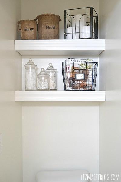 DIY Floating Bathroom Shelves   Lizmarieblog.com