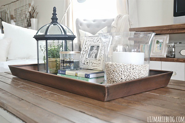 DIY Boot Tray To Coffee Table Organizer Liz Marie Blog