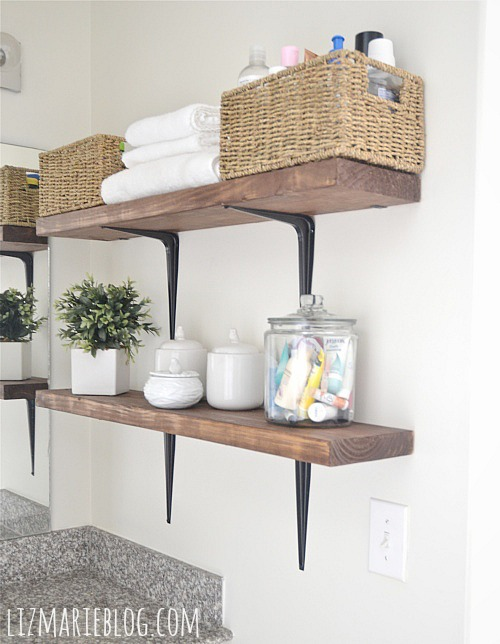 DIY Rustic Wood & Metal Bathroom Shelves - Liz Marie Blog