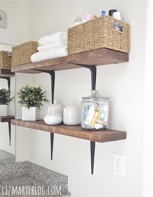 DIY Rustic Bathroom Shelves. So Easy!!   Lizmarieblog.com