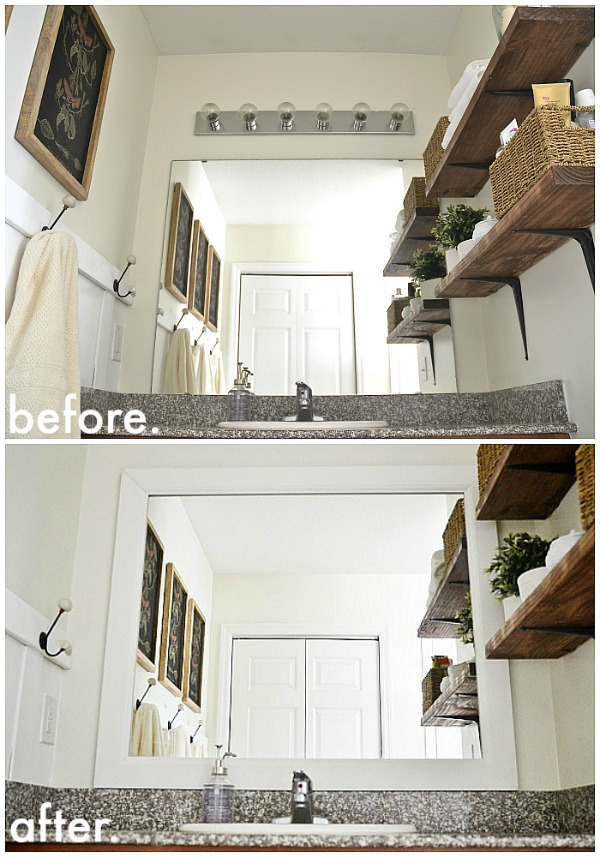 Framing A Bathroom Mirror Before And After diy framed bathroom mirrors - liz marie blog