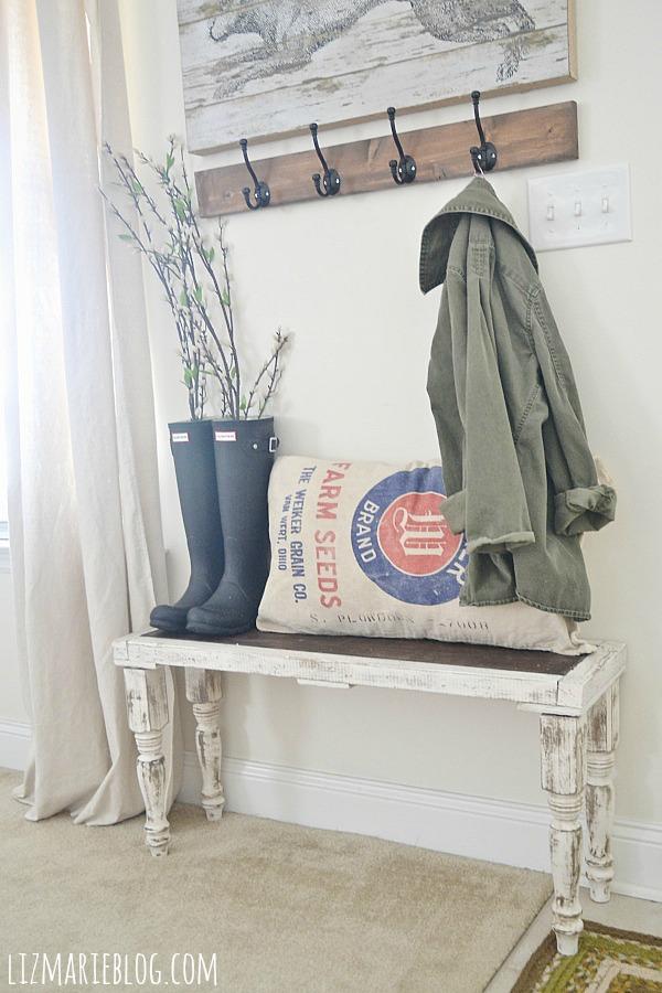 Foyer Bench Jobs : Diy rustic bench liz marie
