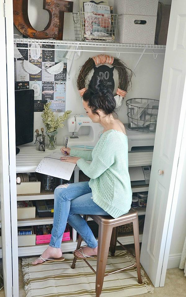 DIY craft closet office - lizmarieblog.com