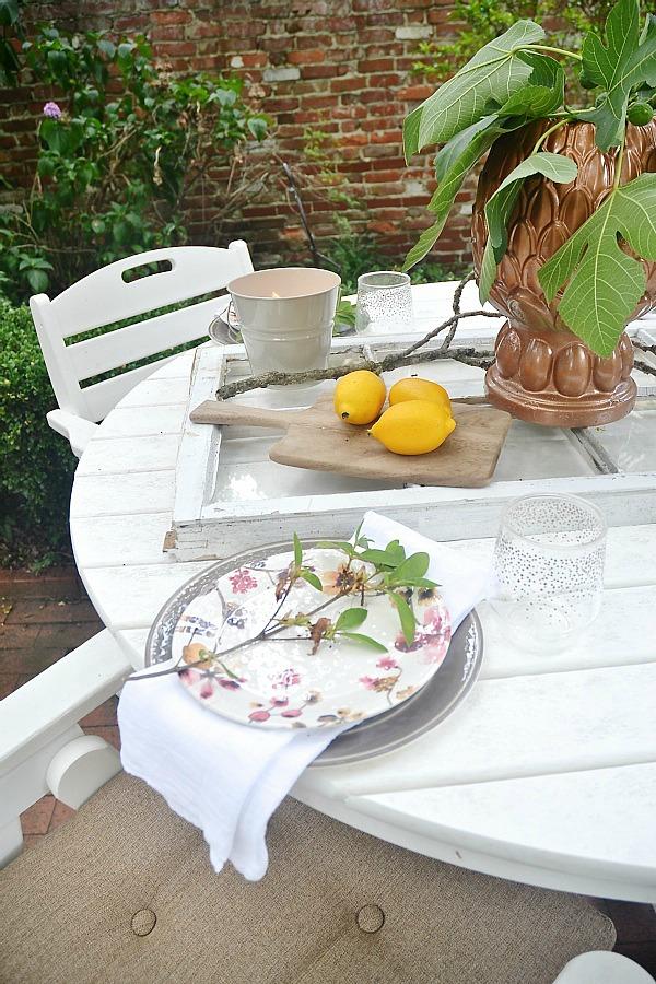 Amazing Summer patio table with a window table runner u DIY outdoor chandelier lizmarieblog