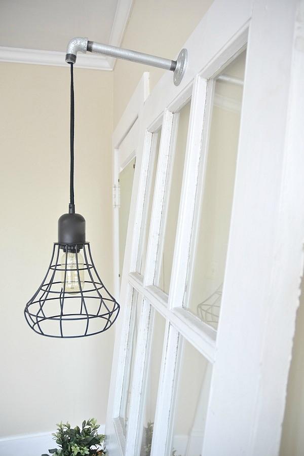 DIY Industrial Pendant light hanger - lizmarieblog.com