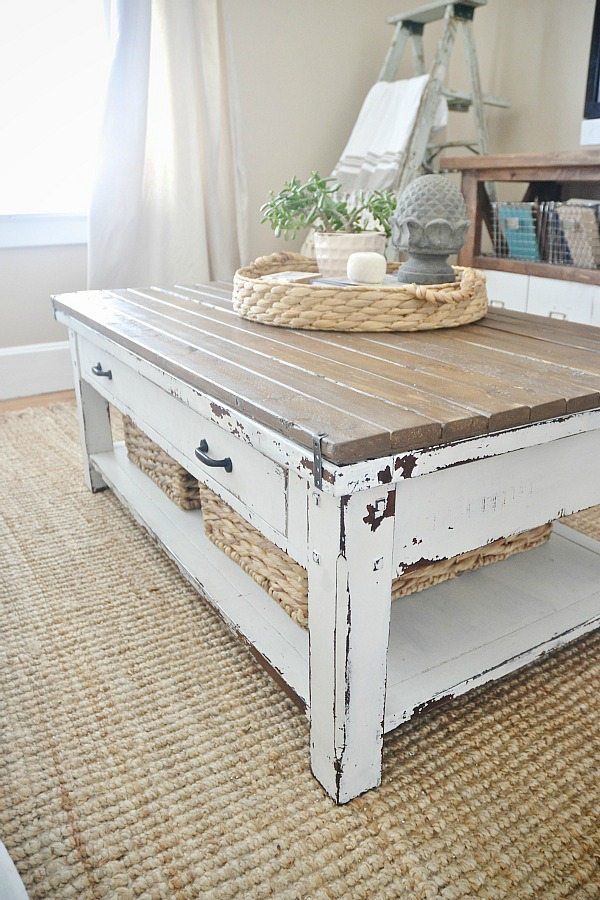 Cute World Market coffee Table makeover with some boards u paint create a custom coffee table