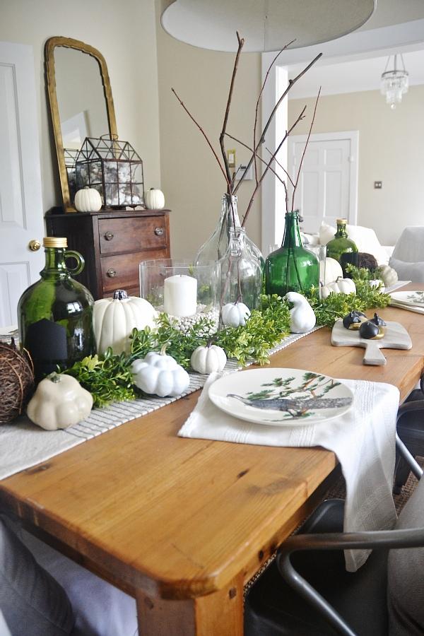A neutral & green fall dining room - lizmarieblog.com